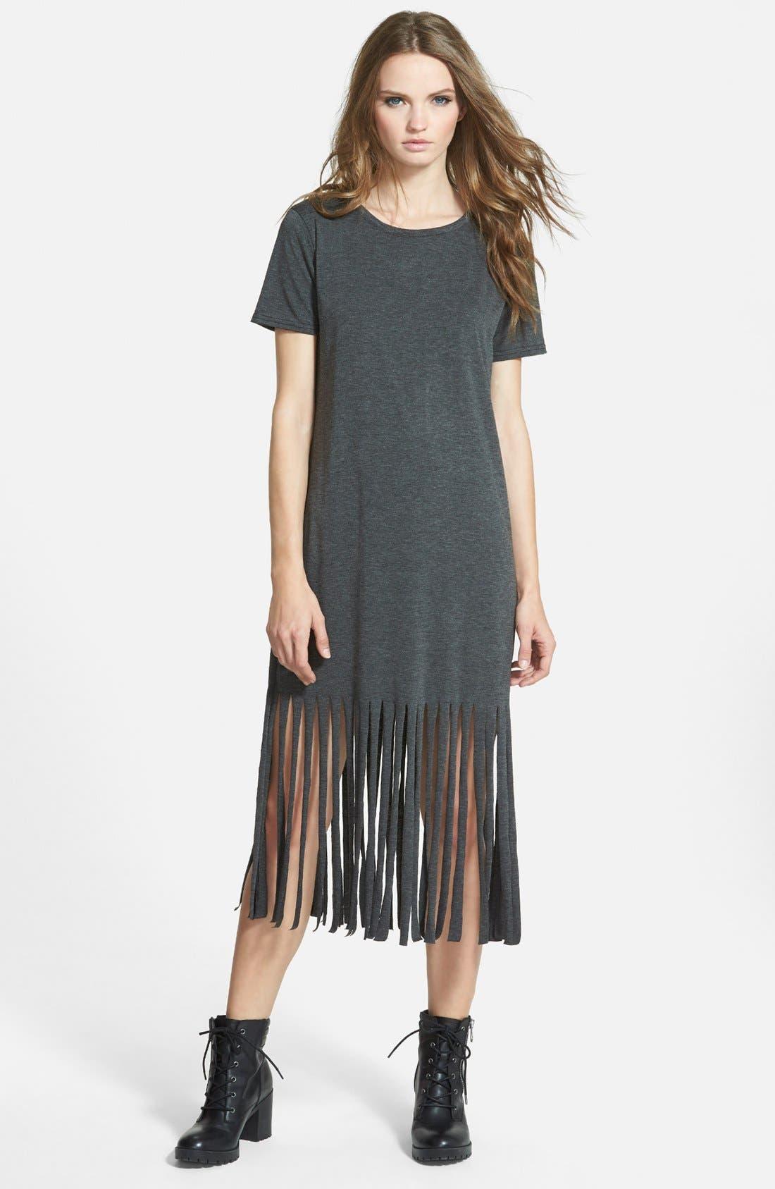Fringe T-Shirt Dress, Main, color, 021
