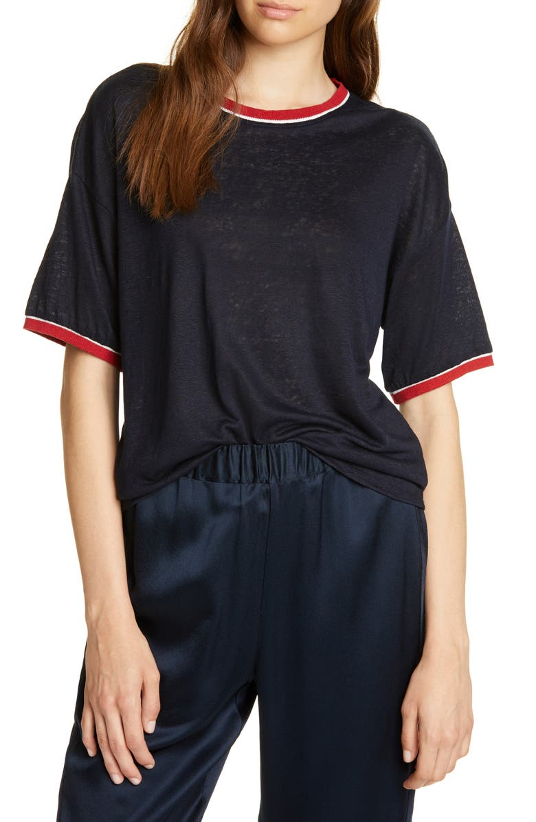 JOIE Alwyne Linen Ringer Tee, Main, color, MIDNIGHT