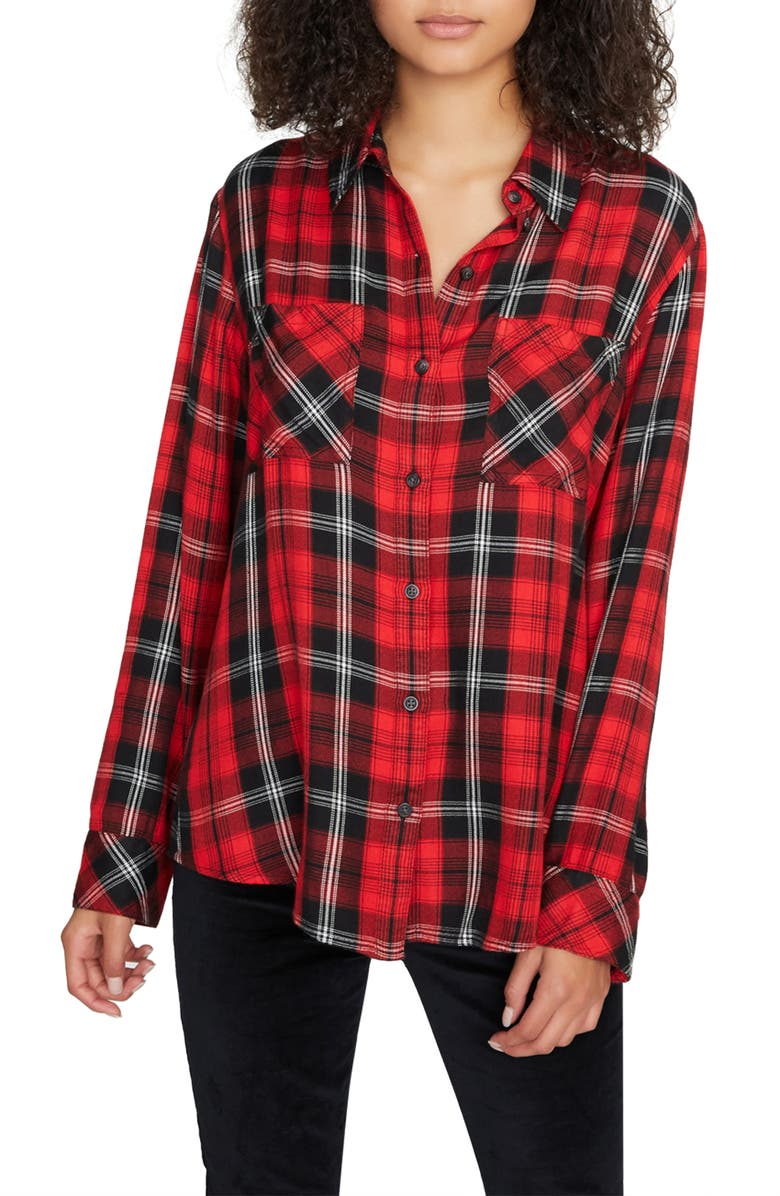 SANCTUARY New Generation Plaid Boyfriend Shirt, Main, color, PARTY RED PLAID