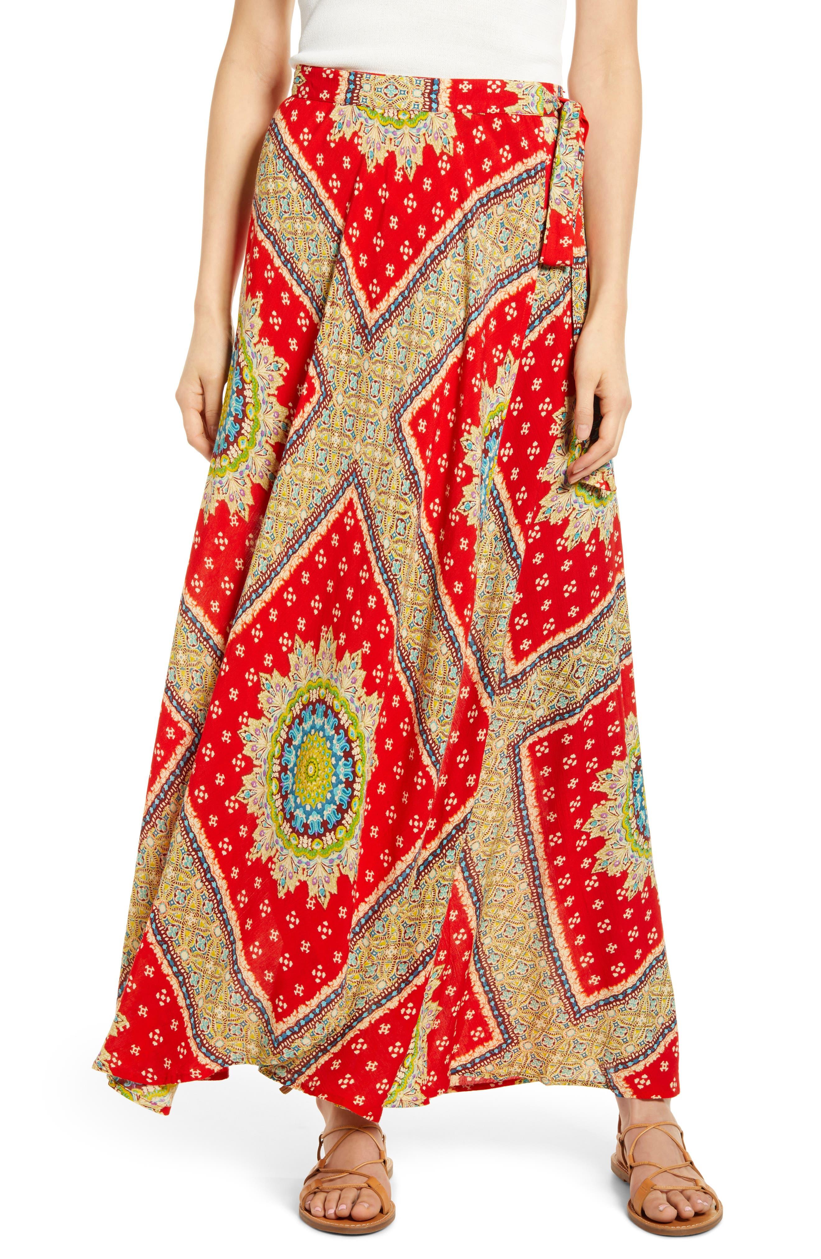 Foulard Print Wrap Skirt