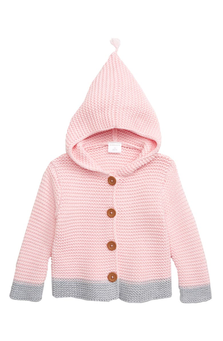 NORDSTROM BABY Organic Cotton Hooded Cardigan, Main, color, PINK BABY