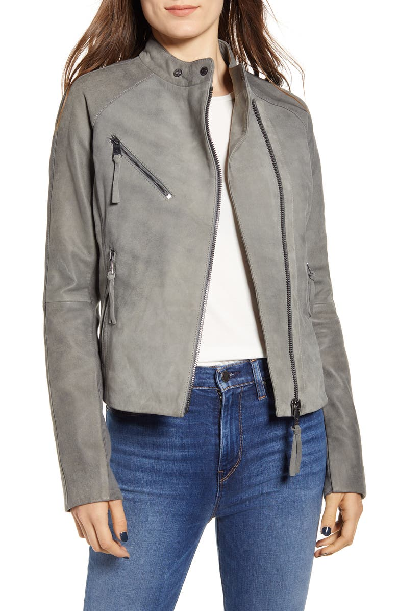BERNARDO Spessa Leather Moto Jacket, Main, color, GREY