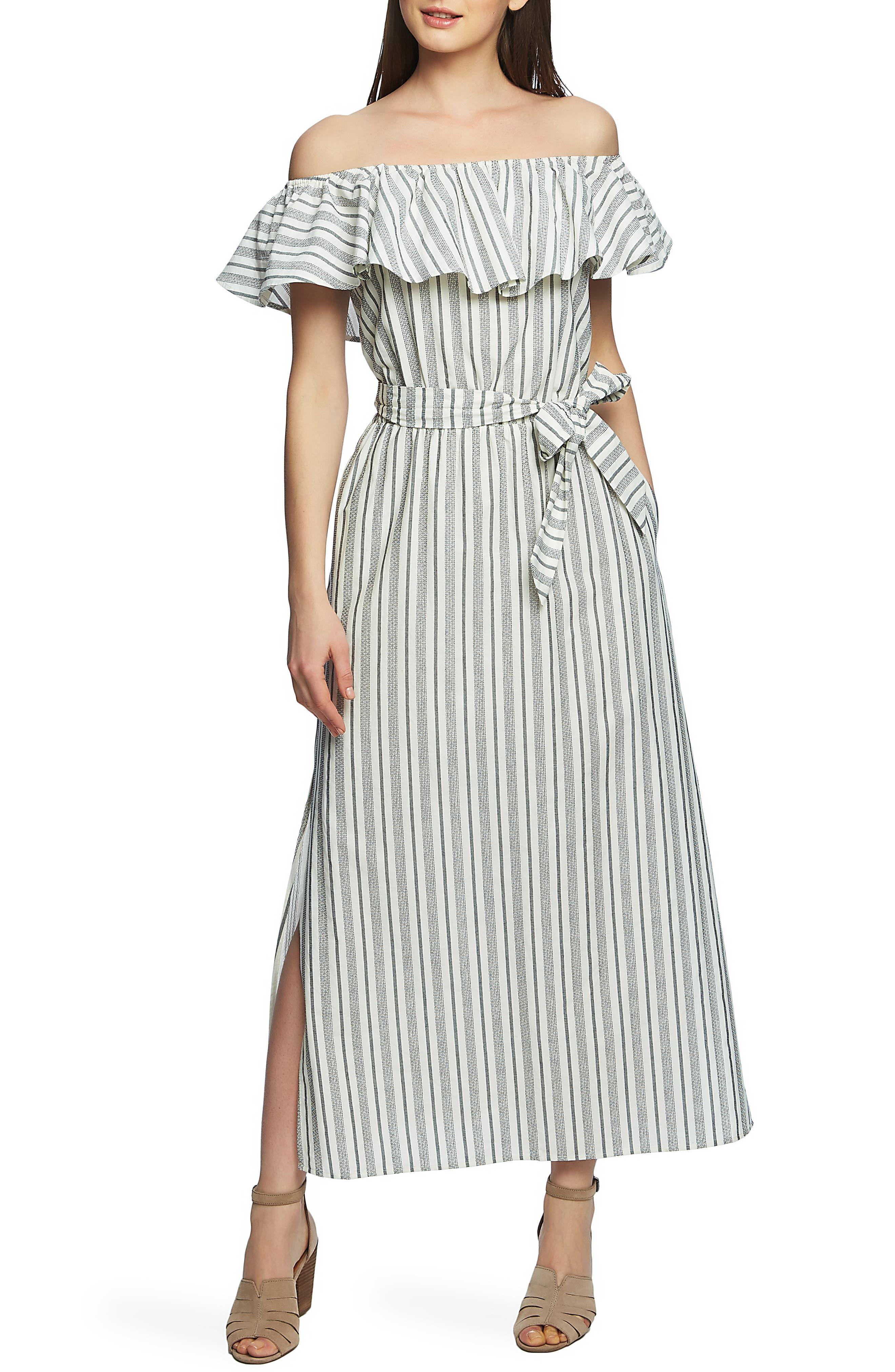 1.state Stripe Off The Shoulder Cotton Maxi Dress, White