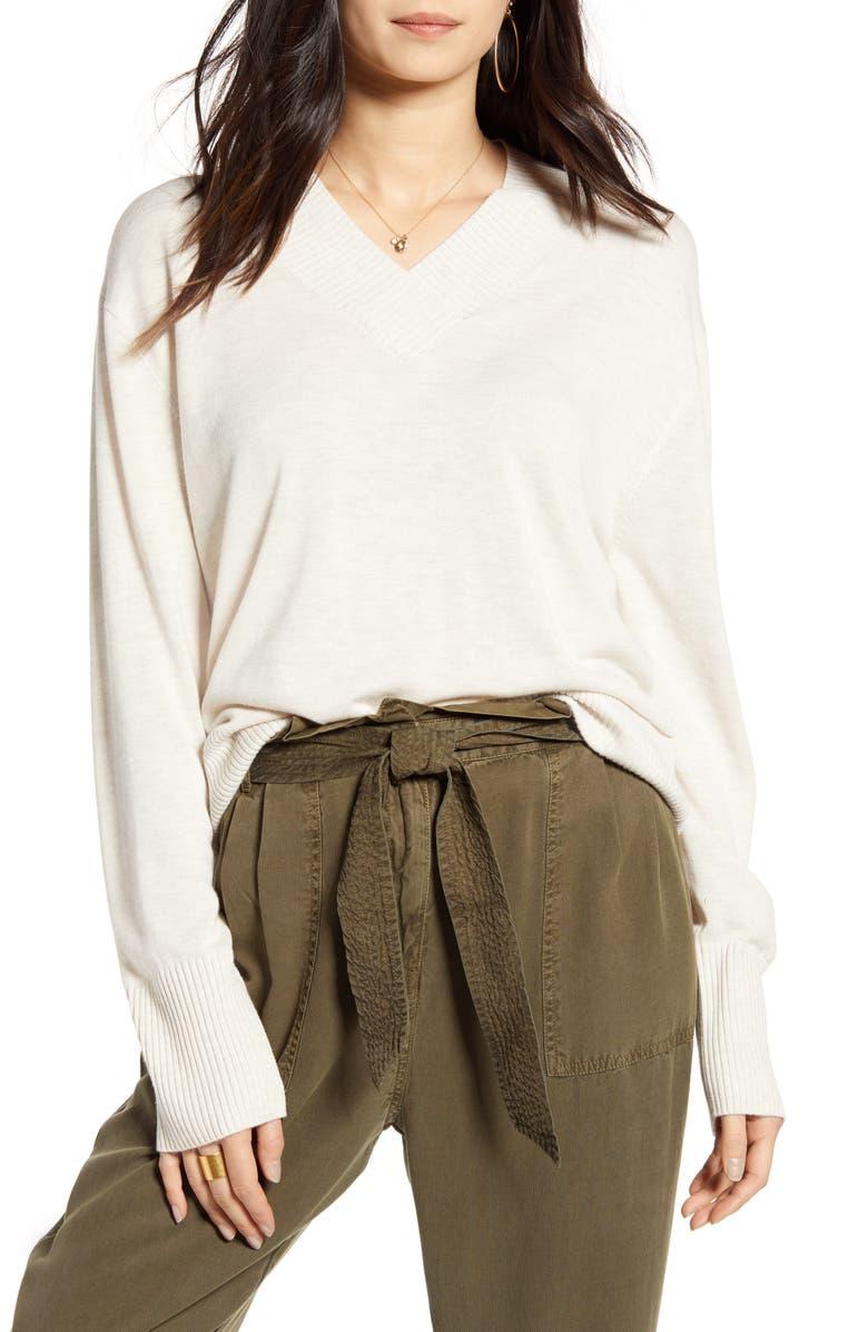 TREASURE & BOND V-Neck Sweater, Main, color, BEIGE OATMEAL LIGHT HEATHER