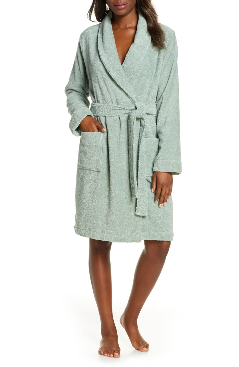 NORDSTROM LINGERIE Terry Robe, Main, color, TEAL JADEITE