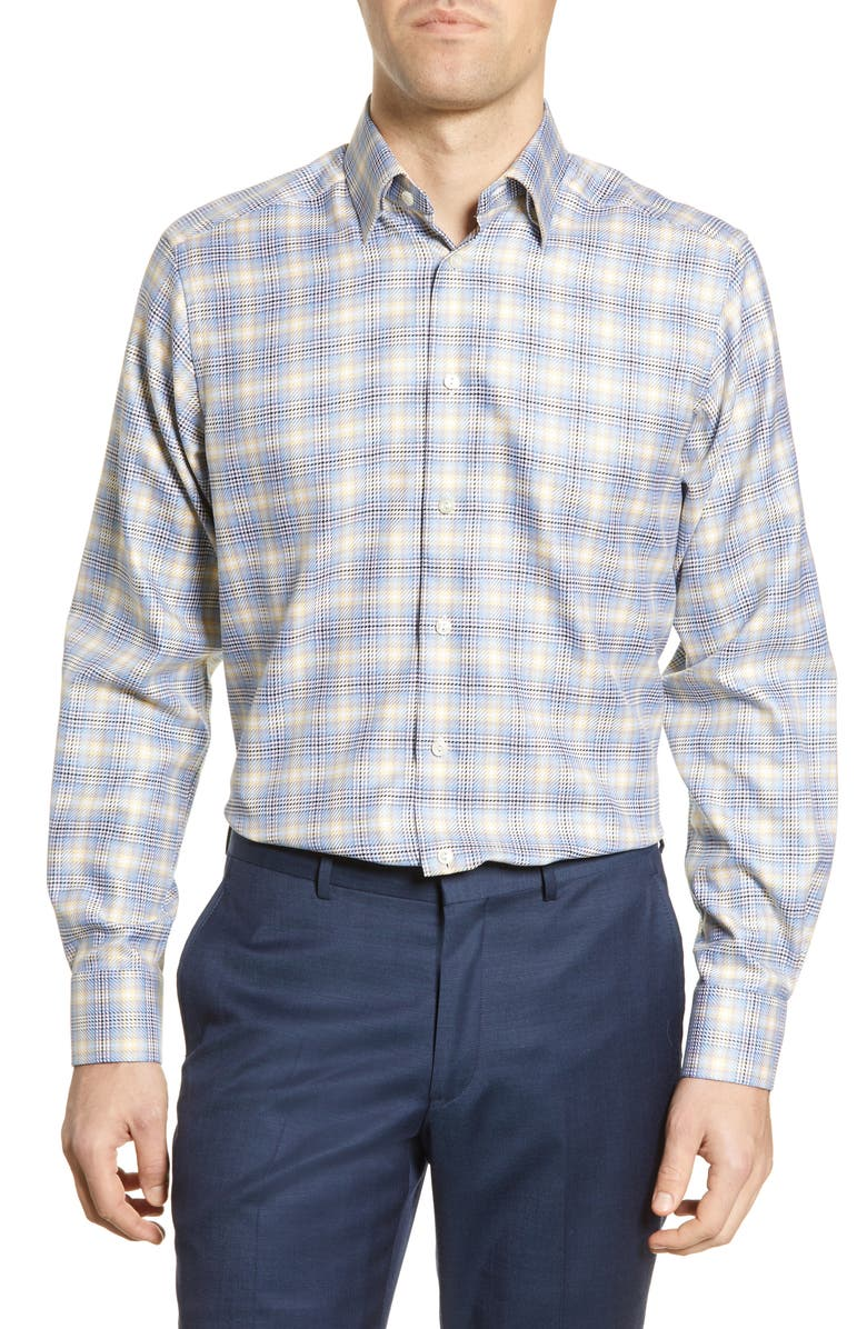 ETON Contemporary Fit Plaid Dress Shirt, Main, color, BLUE/ YELLOW