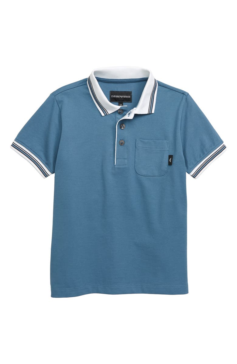 ARMANI JUNIOR Pocket Polo, Main, color, BLU OMBRA