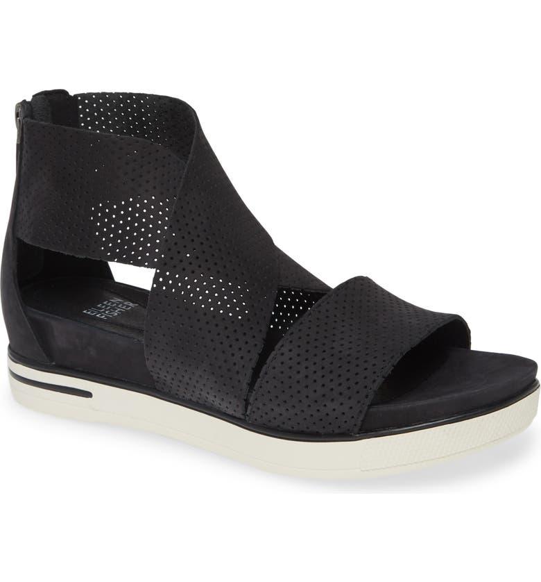 EILEEN FISHER Sport Platform Sandal, Main, color, BLACK/ WHITE NUBUCK LEATHER