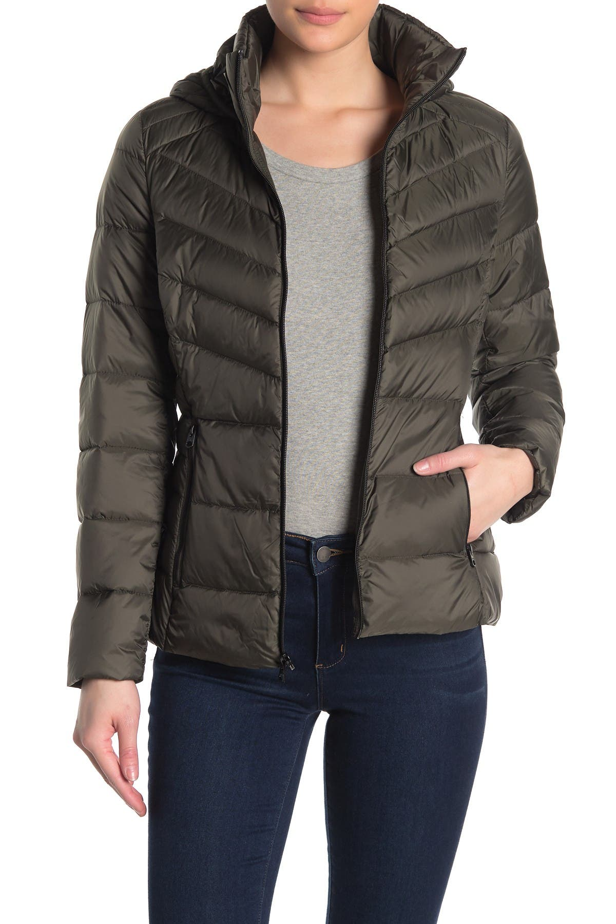 Image of Lucky Brand Missy Hooded Short Packable Down Jacket