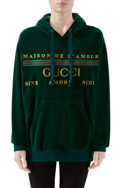 Gucci Tops OVERSIZE EMBROIDERED VELOUR HOODIE