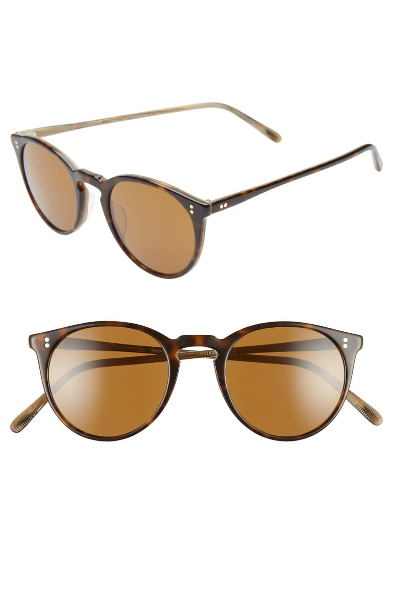 OLIVER PEOPLES O'Malley 48mm Round Sunglasses, Main, color, HORN/ BROWN