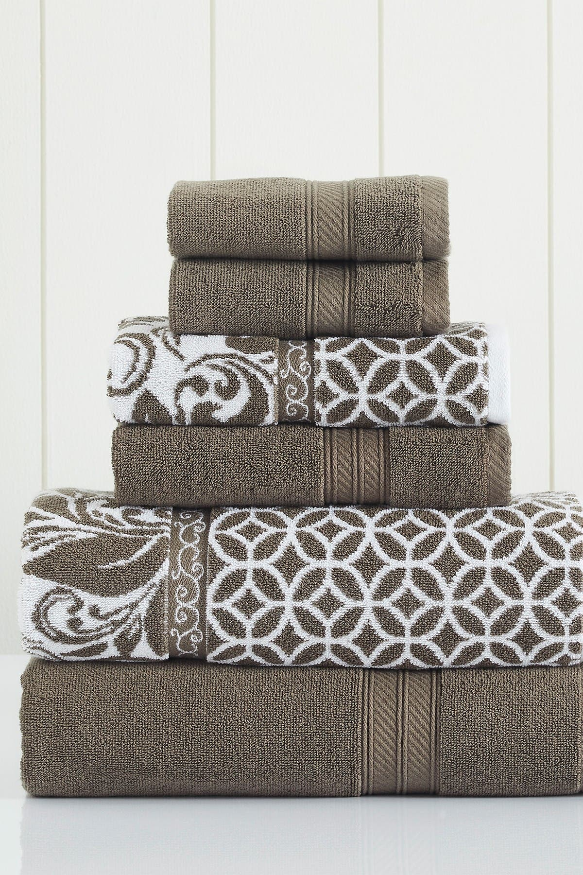 Image of Modern Threads Mocha Trefoil Filigree Reversible Yarn-Dyed Jacquard 6-Piece Towel Set