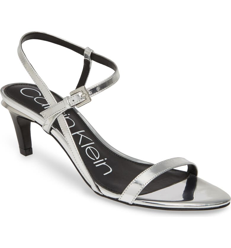 CALVIN KLEIN Garrina Sandal, Main, color, SILVER LEATHER