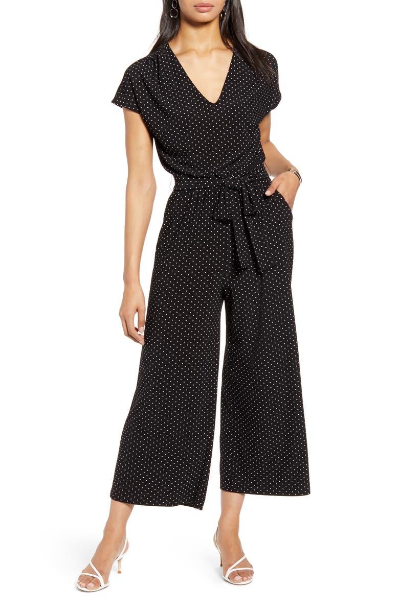 HALOGEN<SUP>®</SUP> Crop Wide Leg Jumpsuit, Main, color, BLACK- IVORY LADY DOT