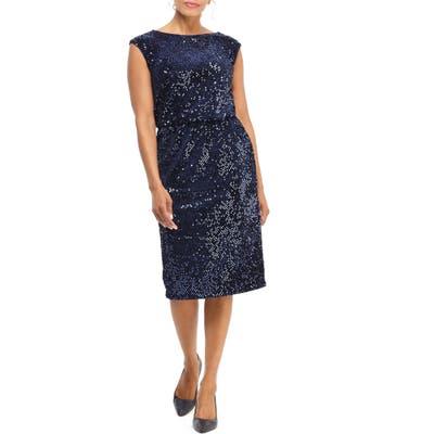 Maggy London Sequin Sheath Dress, Blue