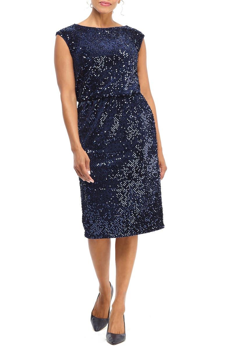 MAGGY LONDON Sequin Sheath Dress, Main, color, NAVY