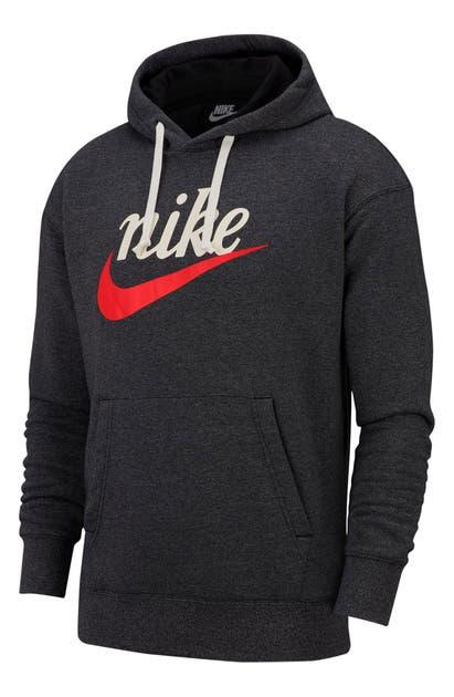 Nike Heritage Graphic Logo Hooded Sweatshirt In Black/ Heather