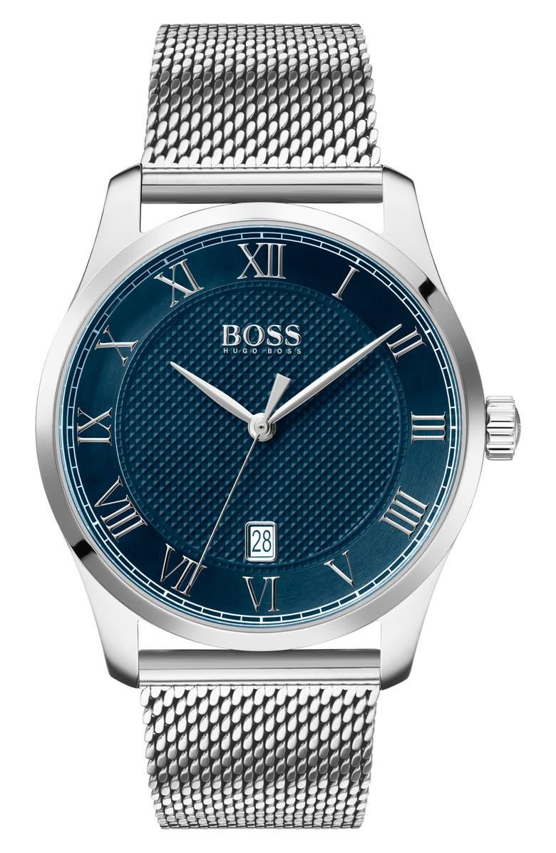BOSS Master Mesh Strap Watch, 41mm, Main, color, 040