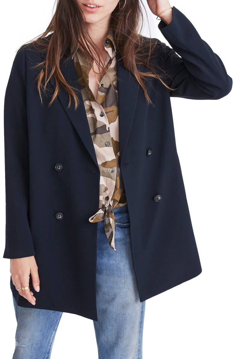 MADEWELL Caldwell Double Breasted Blazer, Main, color, TRUE BLACK