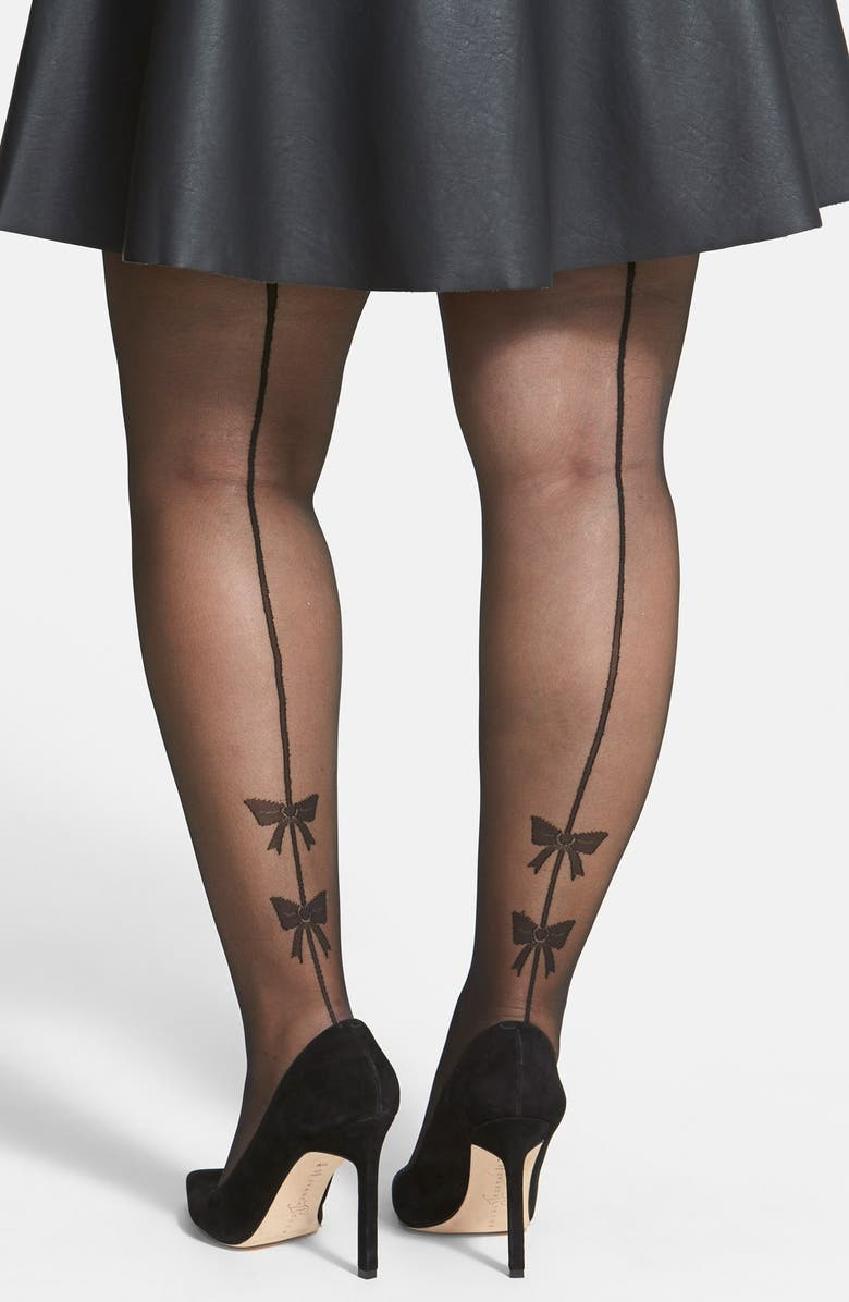 a2df302902fe1 Pretty Polly Bow Detail Back Seam Tights (Plus Size) | Nordstrom