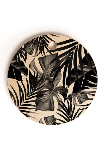 Image of Deny Designs Anita and Bella Art Tropical Jungle Leaves 10 Round Cutting Board