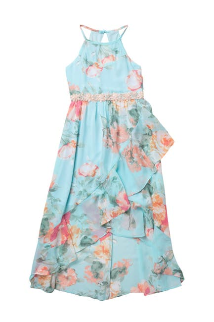 Image of mymichelle Floral Halter Neck Ruffled High/Low Dress