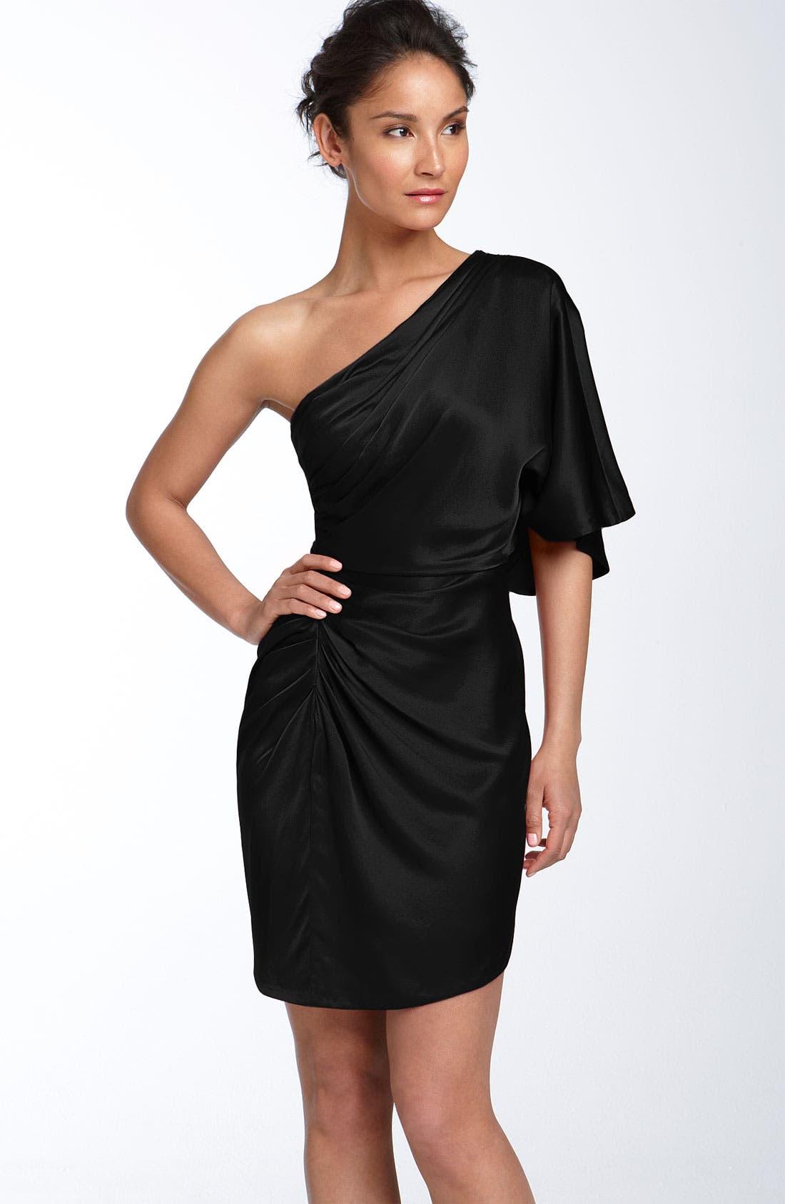 Draped One Shoulder Stretch Satin Dress, Main, color, 001