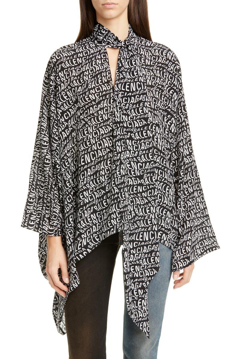 Balenciaga Tonal Jacquard Logo Tie Neck Silk Blouse