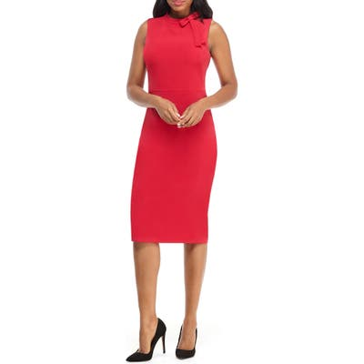 Maggy London Bow Detail Sheath Dress, Red
