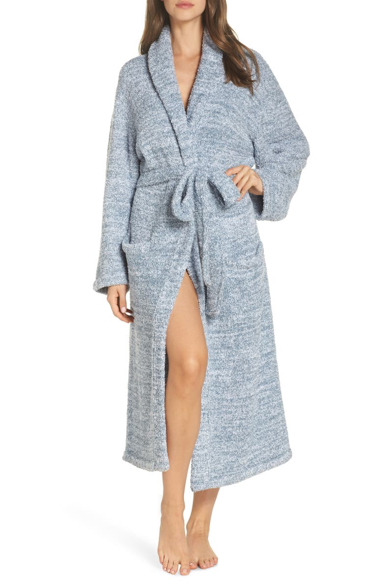 BAREFOOT DREAMS<SUP>®</SUP> CozyChic<sup>®</sup> Unisex Robe, Main, color, HEATHERED DUSK/ WHITE