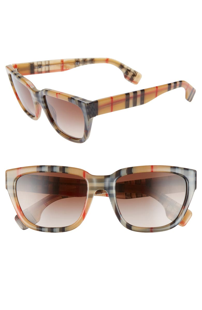 BURBERRY 54mm Square Sunglasses, Main, color, BROWN/ RED/ BROWN GRADIENT