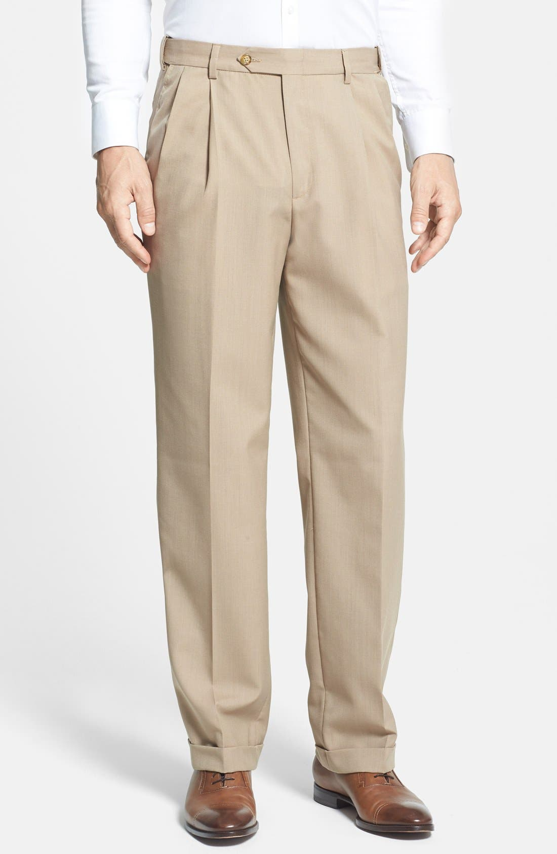 Self Sizer Waist Plain Weave Flat Front Washable Trousers