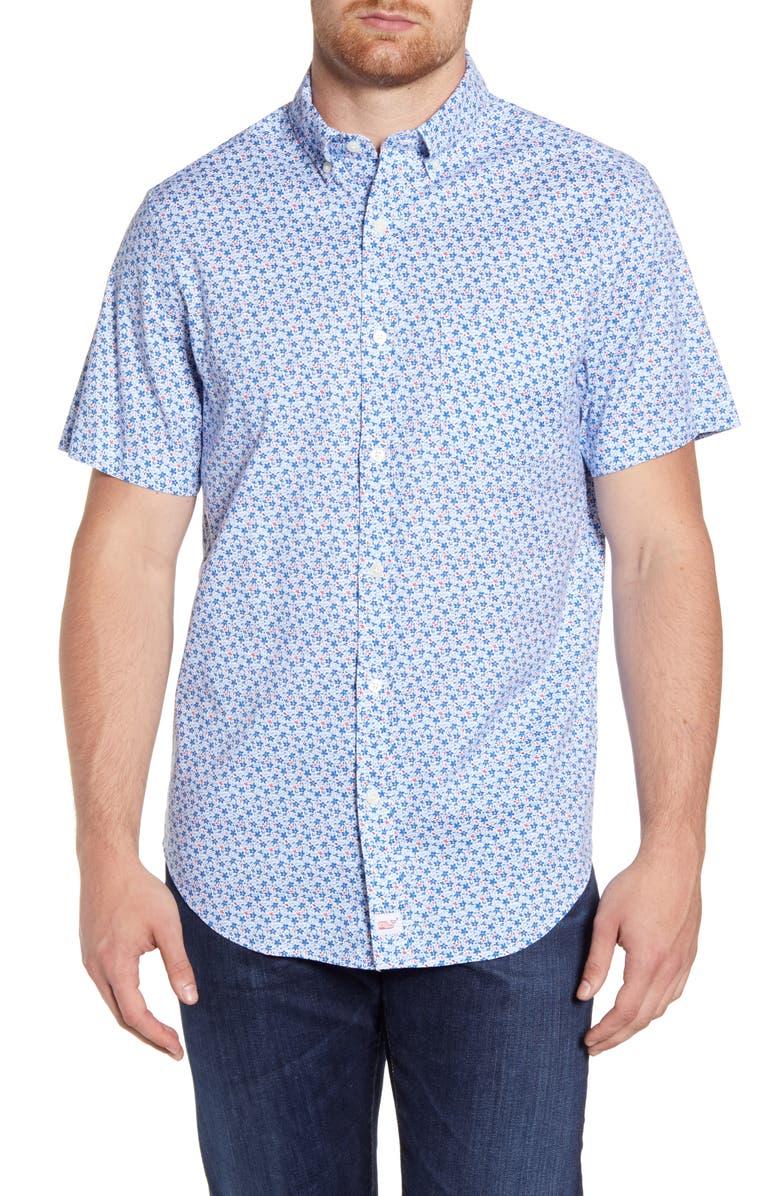 VINEYARD VINES Murray Classic Fit Floral Short Sleeve Button-Down Shirt, Main, color, WHITE CAP