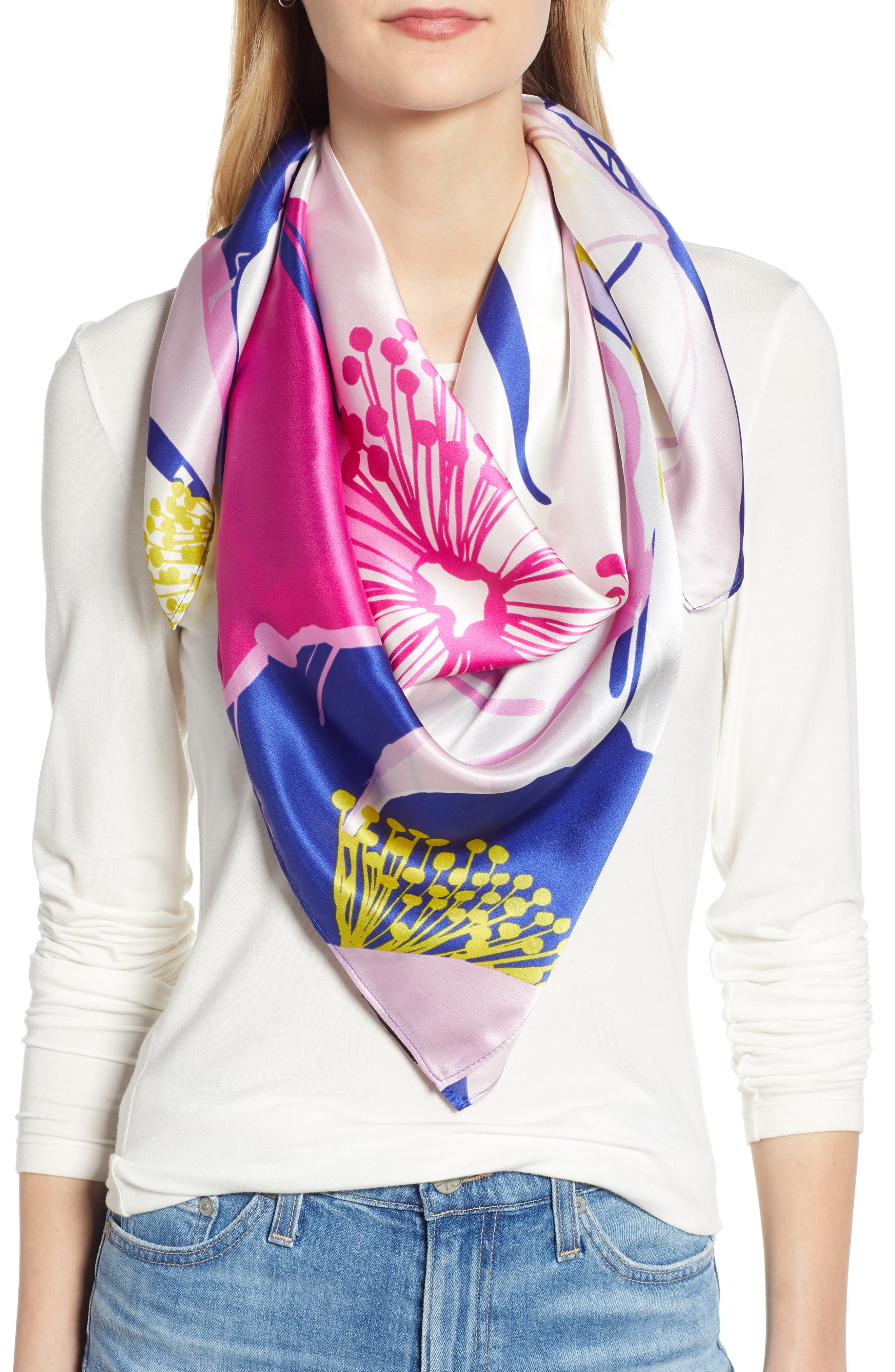 Print Silk Scarf, Main, color, BLUE DISCO BLOOMS