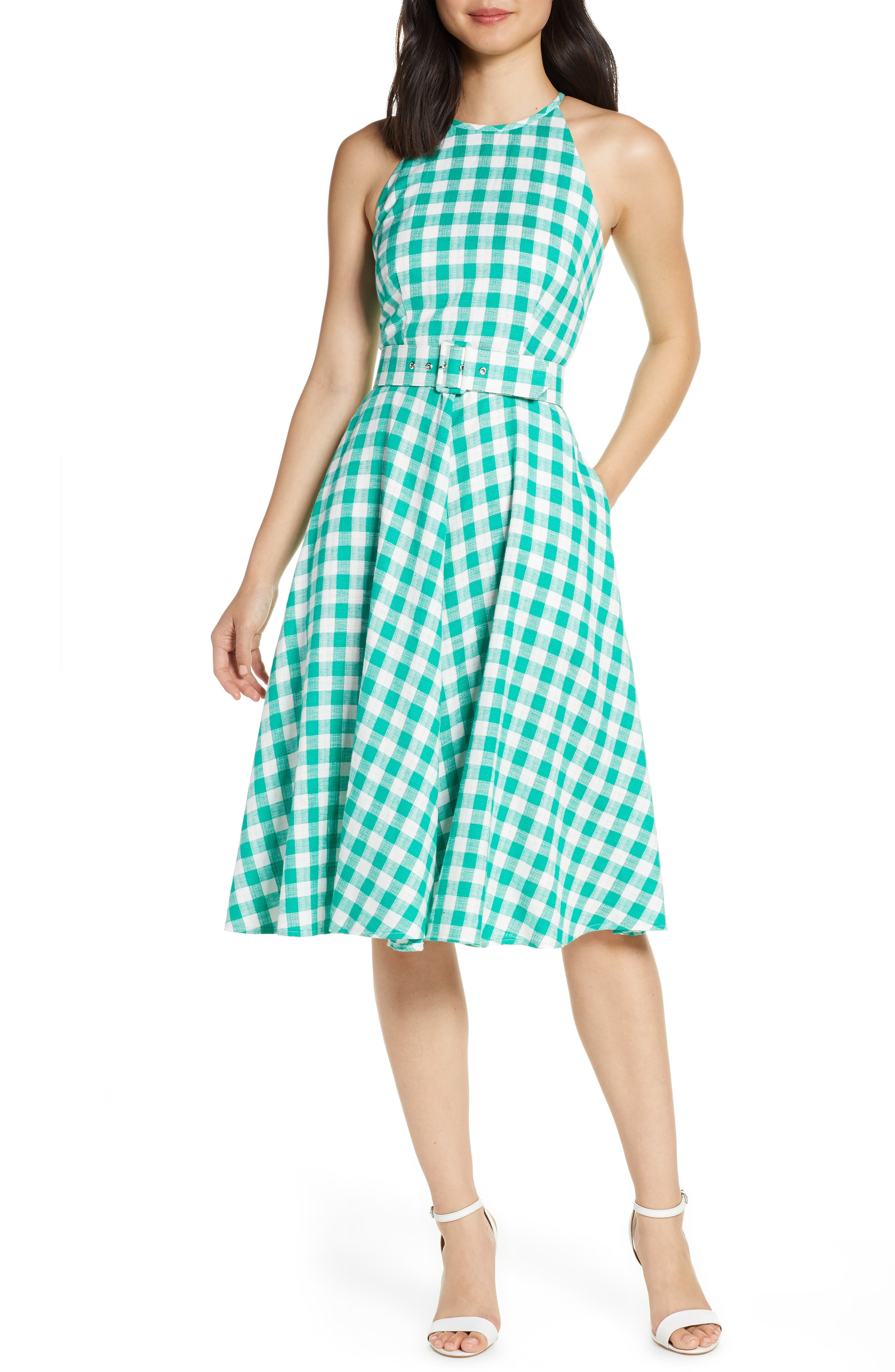 Fifties Dresses : 1950s Style Swing to Wiggle Dresses Womens Eliza J Halter Neck Gingham Fit  Flare Dress $82.80 AT vintagedancer.com