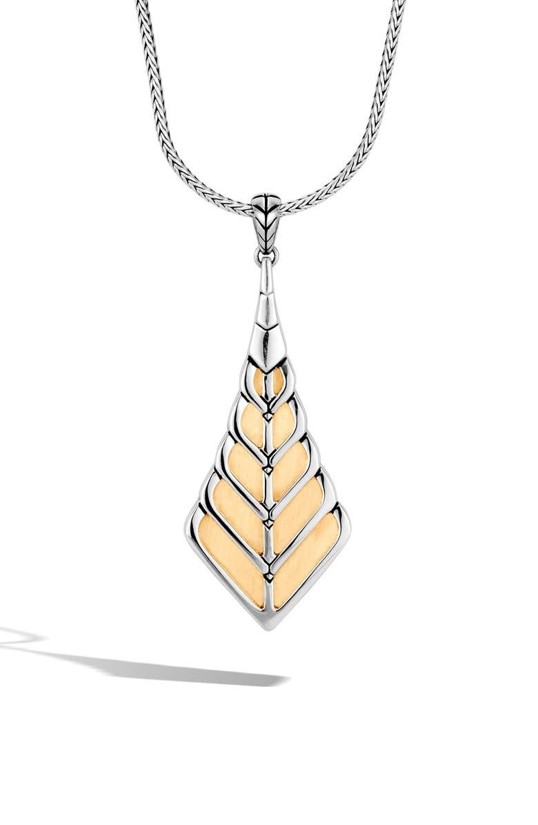 John Hardy Modern Chain Leaf Pendant Necklace