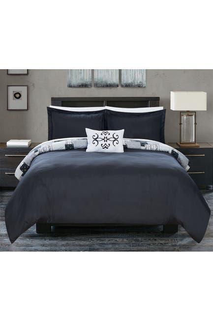 Image of Chic Home Bedding Umbriel Reversible Bohemian Paisley Print Patchwork Design King Duvet Cover Set - Black - 4-Piece Set