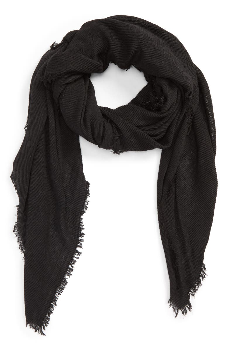 DAVID & YOUNG Pleated Fringe Scarf, Main, color, 001