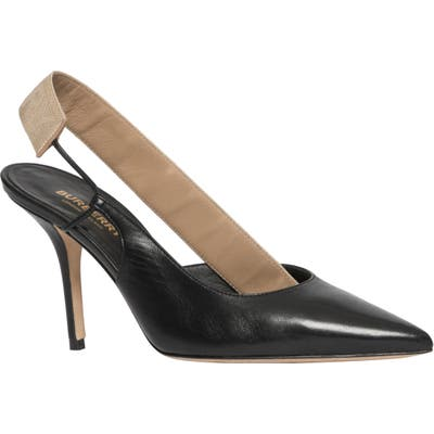 Burberry Maria Logo Slingback Pointy Toe Pump - Black