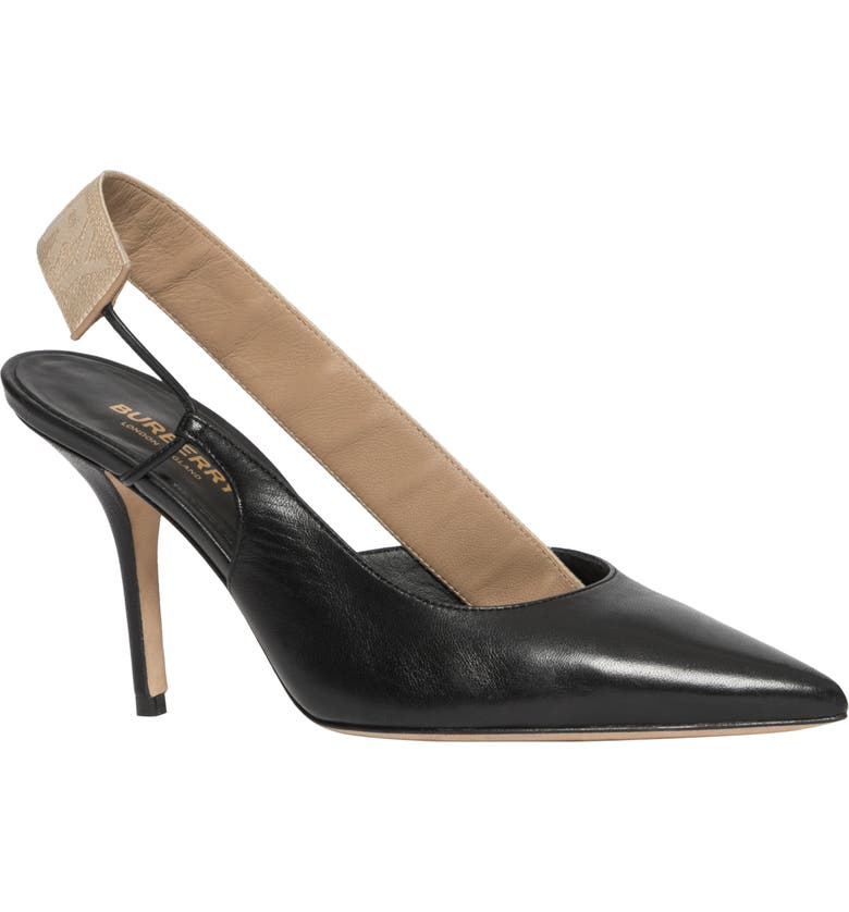 BURBERRY Maria Logo Slingback Pointy Toe Pump, Main, color, BLACK