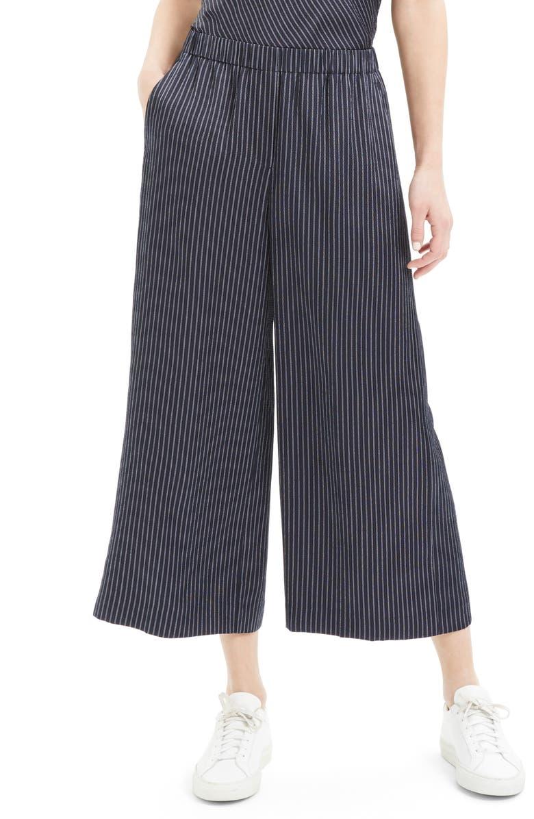 THEORY Raoka Stripe Wide Leg Crop Silk Pants, Main, color, DEEP NAVY MULTI
