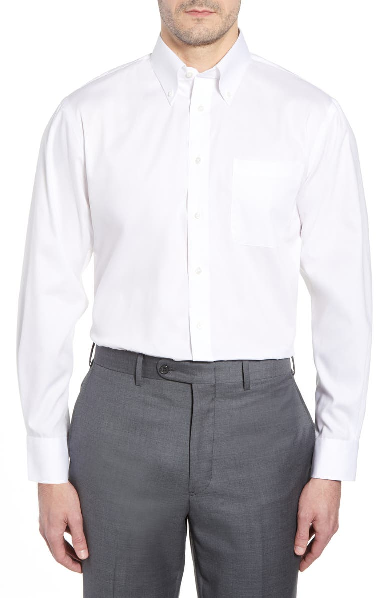 NORDSTROM MEN'S SHOP Traditional Fit Non-Iron Dress Shirt, Main, color, WHITE
