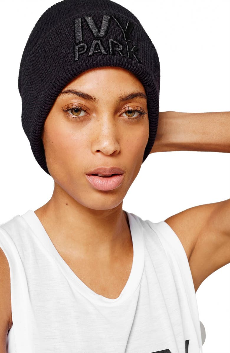 IVY PARK<SUP>®</SUP> Logo Ribbed Beanie, Main, color, 001