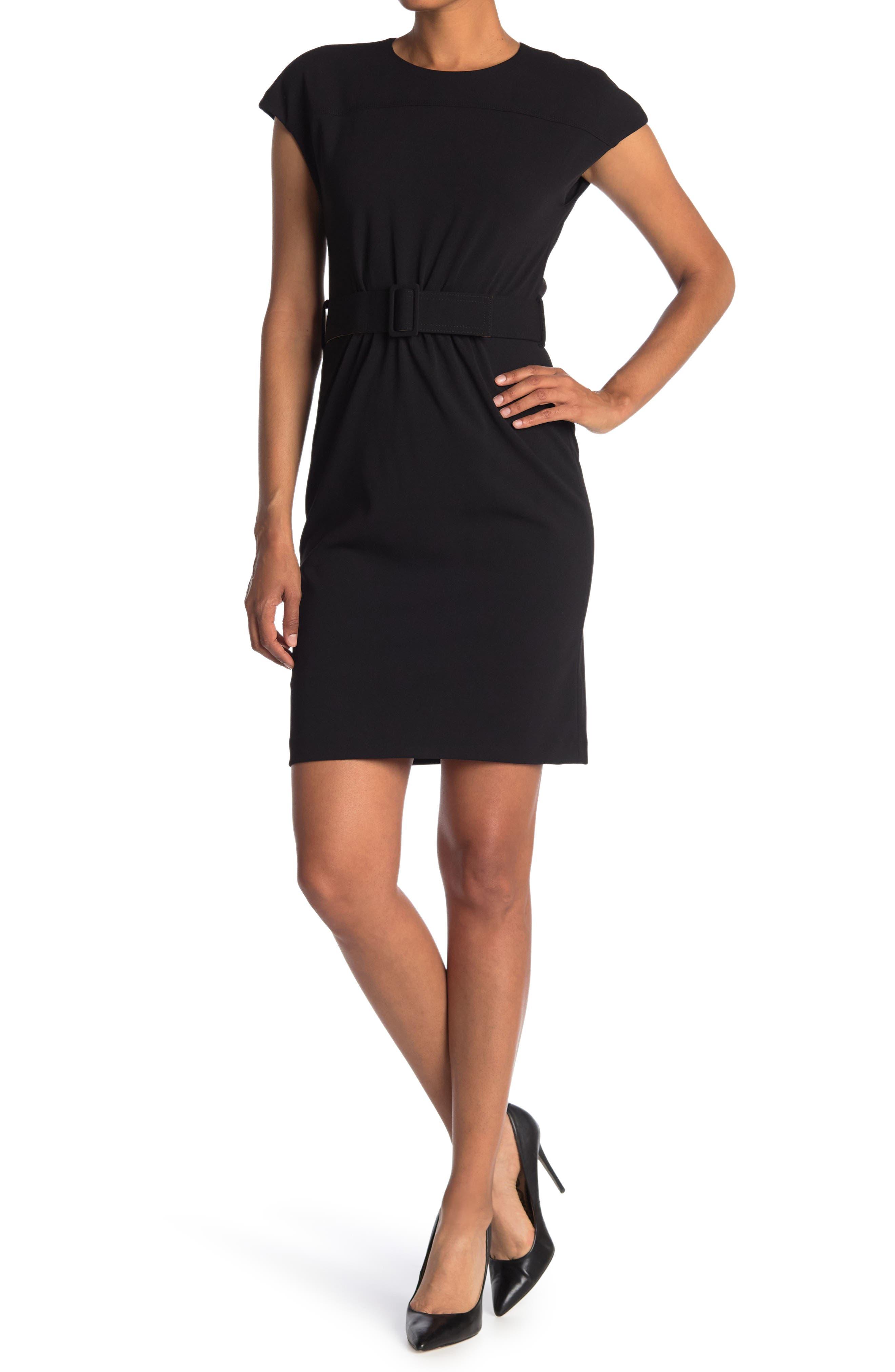 Image of Calvin Klein Cap Sleeve Belted Sheath Dress