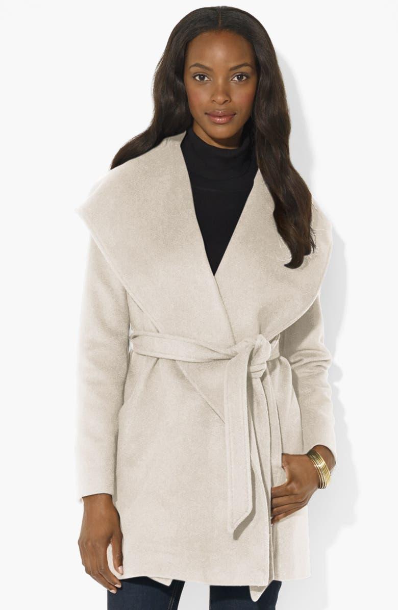LAUREN RALPH LAUREN Hooded Wrap Coat, Main, color, 250