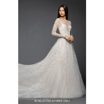 Lazaro Isabel Long Sleeve Beaded Tulle & Chiffon Gown, Size IN STORE ONLY - Ivory