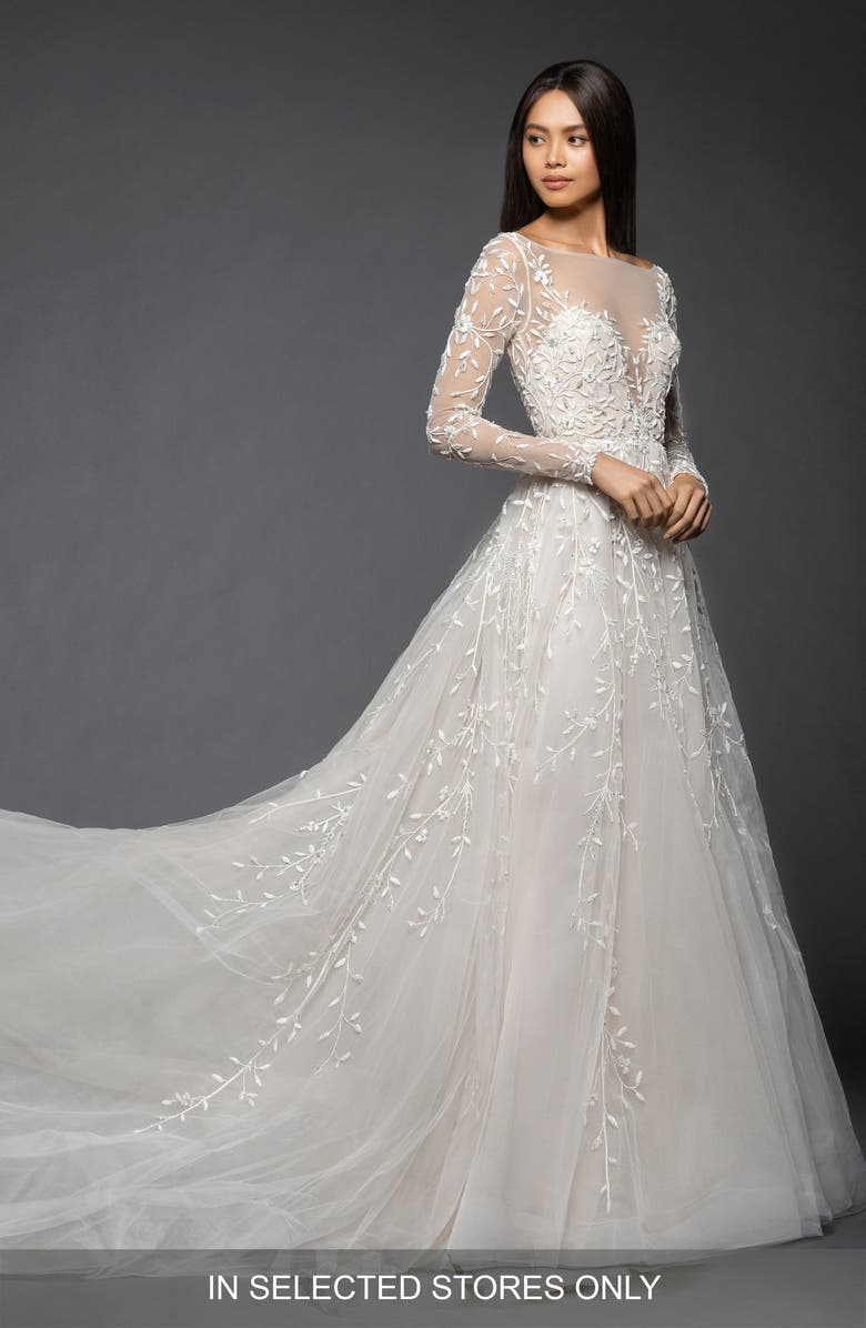 LAZARO Isabel Long Sleeve Beaded Tulle & Chiffon Gown, Main, color, 900