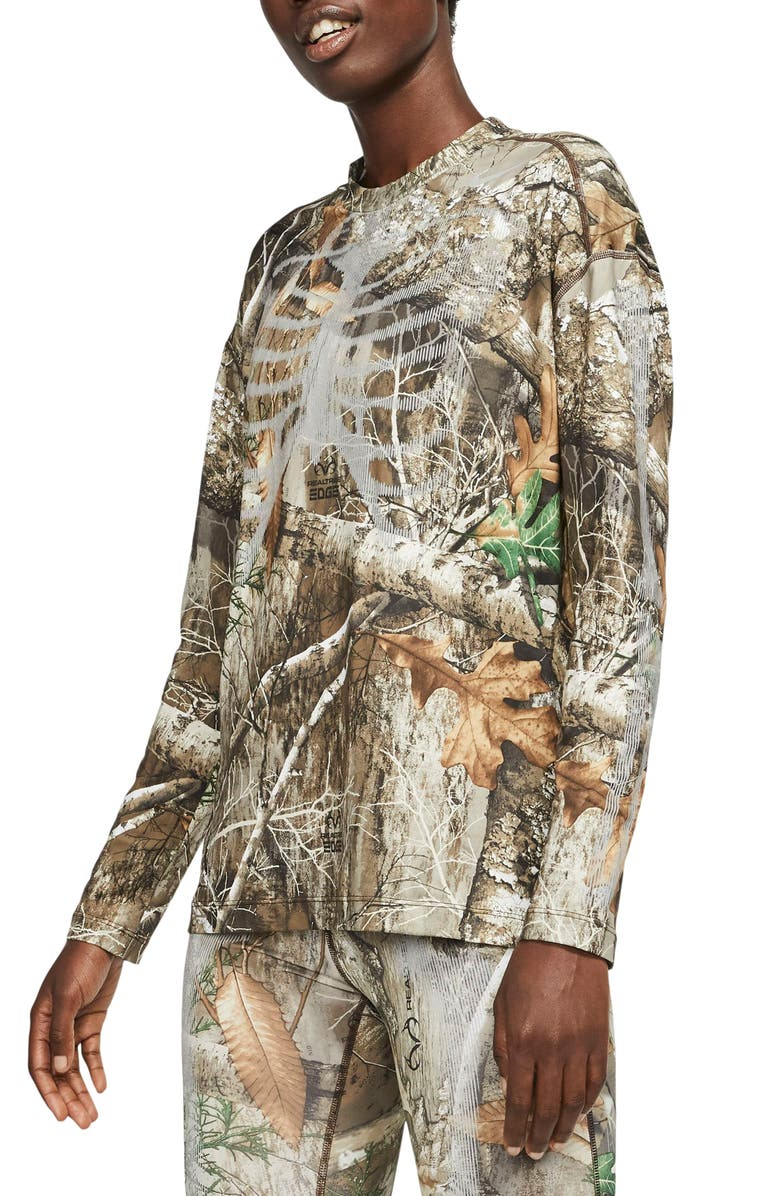 NIKE Realtree<sup>®</sup> Skeleton Long Sleeve Top, Main, color, BAROQUE BROWN