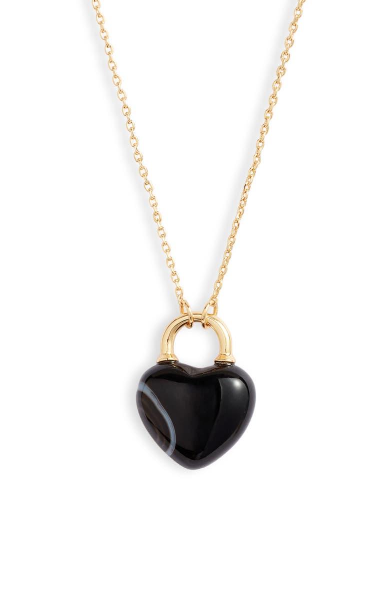 KATE SPADE NEW YORK open heart stone lock mini pendant necklace, Main, color, 001