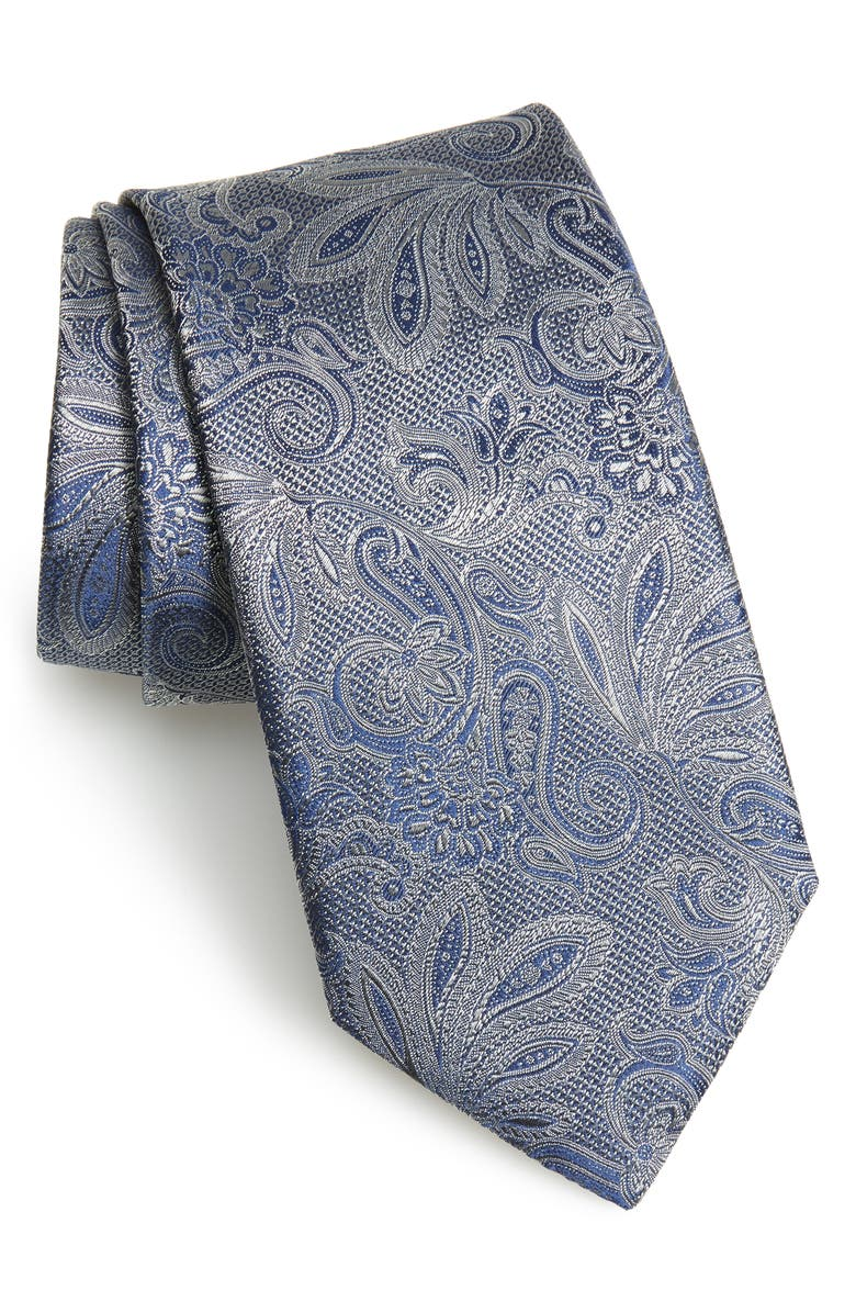CANALI Paisley Silk Tie, Main, color, GREY